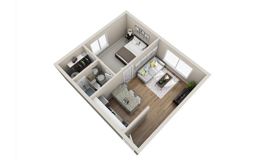 One Bedroom - 1 bedroom floorplan layout with 1 bath and 672 square feet (1st floor 2D)